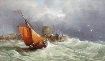 Fishing Boat Passing a Pier in Stormy Weather, James Webb