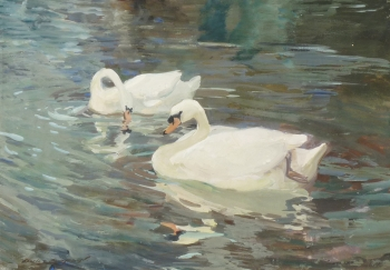 Swans on a Lake, Charles Walter Simpson