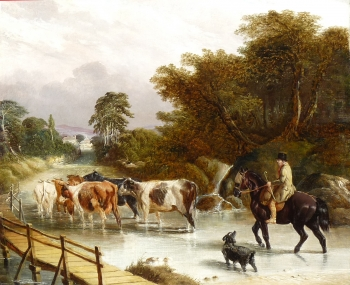 Mounted Herder & Cattle, John Frederick Herring Snr
