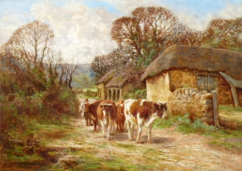 Cattle in a Lane, Charles James Adams