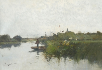 Angler Fishing from a Punt, Eugène Galien-Laloue