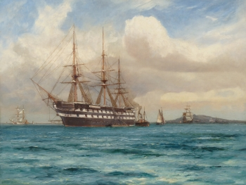 HMS Ganges Anchored off Falmouth, Cornwall, Arthur Wilde Parsons
