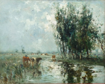 Cattle Watering from a River, George A. Boyle
