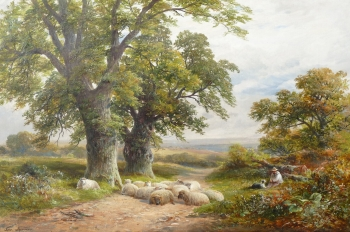 Shepherd & Flock Resting in a Lane, George Turner