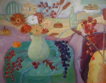 Still Life with Summer Flowers & Berries, Kristina Lamb