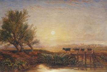 Drover & Cattle Crossing a Bridge, David Cox junior