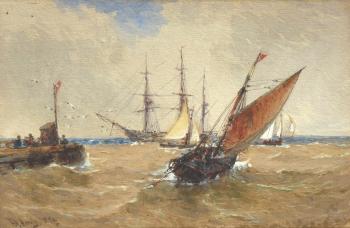 Shipping off a Pier, Thomas Bush Hardy