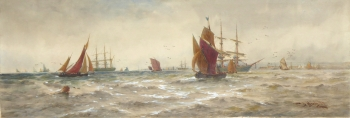 Sailing Vessels off a Coast, Thomas Bush Hardy