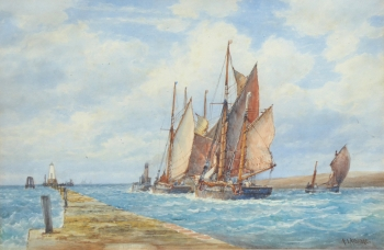 Towing out of Rye, Frederick James Aldridge