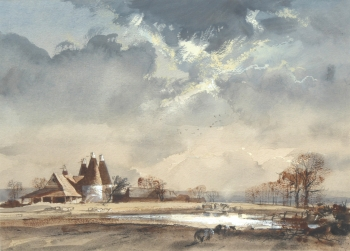 Oast Houses in Autumn, Rowland Hilder