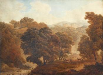 Deer in Wooded Parkland near a Castle, John  Glover