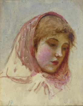 Portrait of a Girl in a Headscarf, Helen Allingham