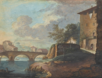 River Bridge by a Town, with Figures and Boats, Italian School