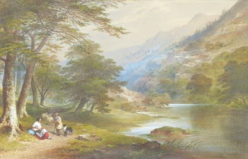 A shepherd Beside a River, Charles Frederick Buckley