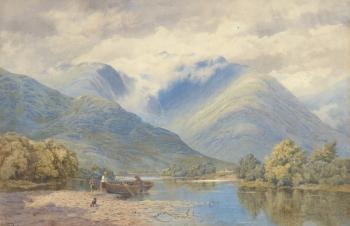 Figures Beaching a Rowing Boat, Augustus Walford Weedon