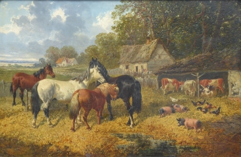 Horses, Cattle and Pigs in a Farmyard, John Frederick Herring Jnr