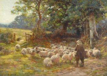 Herding Sheep, Charles James Adams
