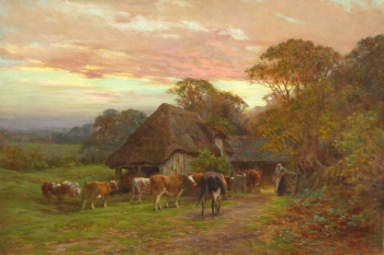 Cattle Returning to a Byre at Dusk, Charles James Adams