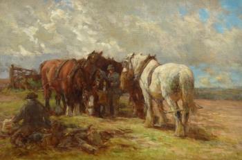 Feeding the Horses, Charles James Adams