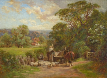 Horse & Cart Passing a Flock in a Lane, Charles James Adams
