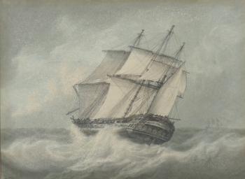 Frigate in a Gale, Samuel  Atkins