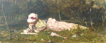 Woman Reading by a River, French School