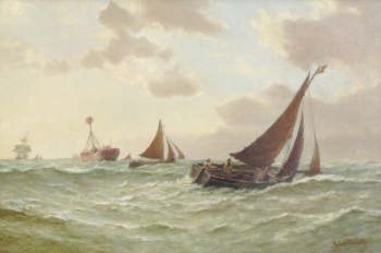 A Lightship & Trawlers in a Swell, Frederick James Aldridge