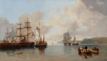 The Pier & The Lighthouse, Scarborough, James Wilson Carmichael