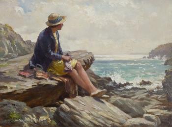 Rene Blacklock Seated on Rocks, Cornish Coast, William Kay Blacklock
