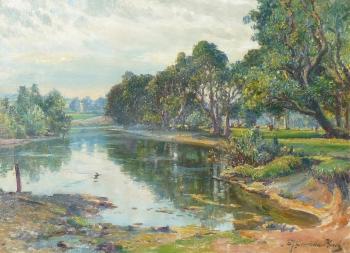 A Promise of Rain - the Isla at Micklemour, Perthshire (Meikleour), Samuel John Lamorna Birch