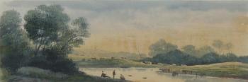 Figures on a Riverbank, John  Glover