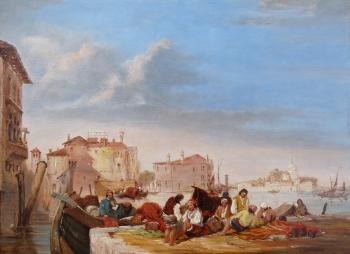 Figures by a Venetian Canal, Venice, Italy, Edward Pritchett