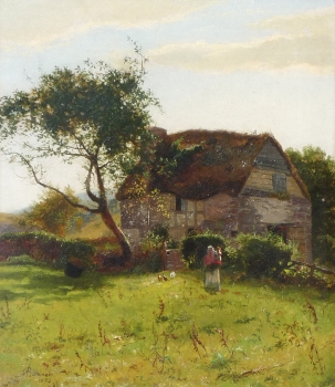 Mother & Child Before a Thatched Cottage, Alfred Banner